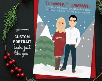 Christmas Pregnancy Announcement Card, Custom Family Portrait Christmas Cards, Printed Holiday Card 5x7, Custom Family Portrait