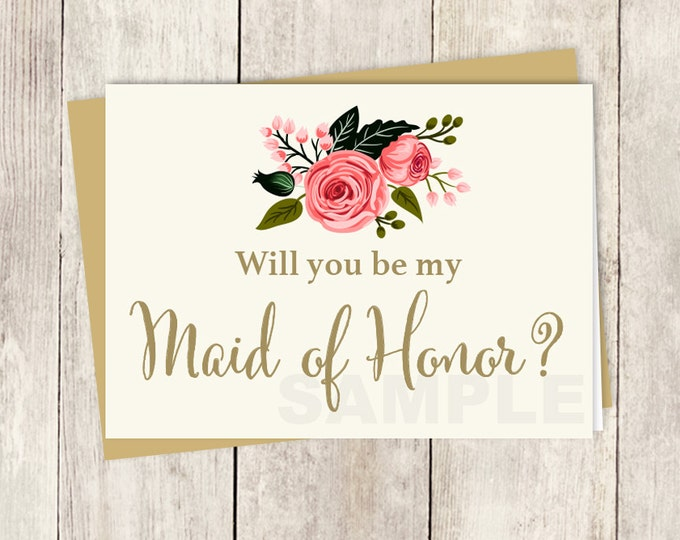 Be My Maid of Honor // Will You? // Wedding Card DIY // Watercolor Rose Flower // Gold Calligraphy, Rose // Printable PDF ▷ Instant Download