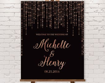 Rose Gold Wedding Welcome Sign / Great Gatsby Inspired Bokeh String Light Sparkle / Black and Copper ▷ Printed Paper, Canvas {or} Printable