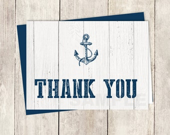 Nautical Thank You Card DIY / Navy Anchor, Nautical Planks, White Wood / Wedding Thank You Printable PDF ▷ Instant Download
