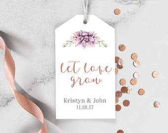 Succulent Wedding Favor Tags / Gift Tag / Greenery and Rose Gold Geometric / Cactus and Copper / Wedding Tags with String {or} Stickers