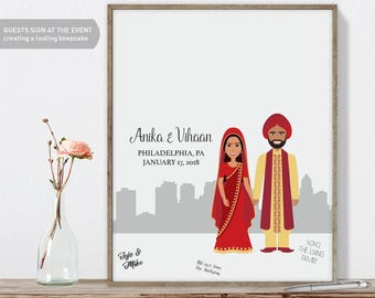Indian Guest Book Portrait / Philadelphia Skyline / Indian Wedding Portrait Guestbook Illustration ▷ Printed Paper, Canvas {or} Printable