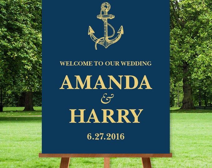 Nautical Wedding Welcome Sign / Nautical Welcome / Gold Anchor, Nautical Sign / Gold and Navy Sign ▷ Printable File {or} Printed & Shipped