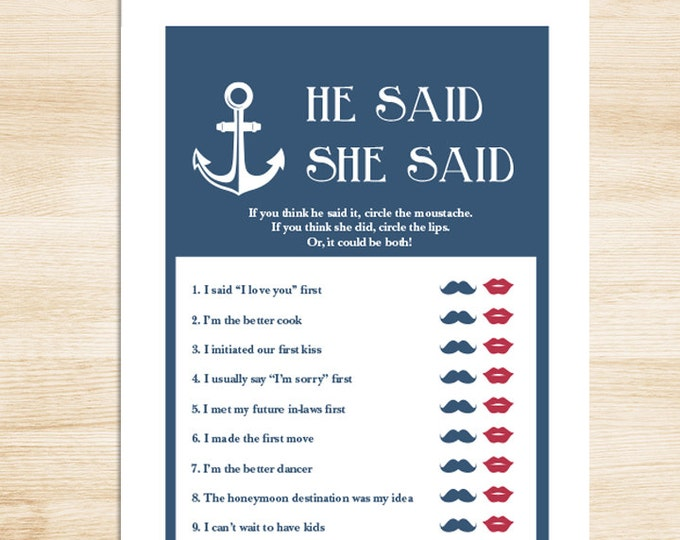 Nautical Bridal Shower Game DIY // Nautical Game, Navy, Anchor // He Said, She Said Printable PDF // Wedding Shower Game ▷ Instant Download