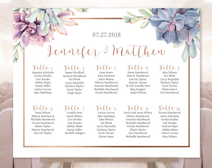 Succulent Wedding Seating Chart Sign / Greenery and Rose Gold Geometric / Cactus and Copper ▷ Printable File {or} Printed & Shipped