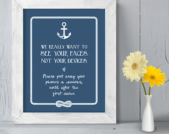 Unplugged Wedding Poster DIY Printable // Nautical Wedding Sign // Anchor & Rope Infinity Knot // Put Away Your Phones  ▷ Instant Download