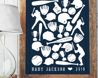 Baby Shower Guestbook Alternative Canvas Print, Navy Nursery Baseball Wall Art Printable, Personalized Gift for Baby