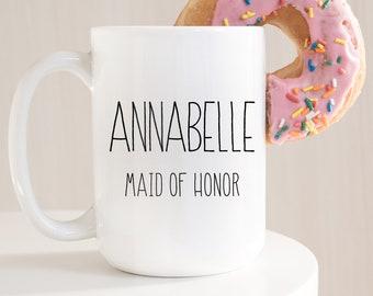 Personalized Maid of Honor Mug, Minimalist Bridal Party Gift Idea under 25, Custom Name Bride Tribe Coffee Mug, Black & White Farmhouse