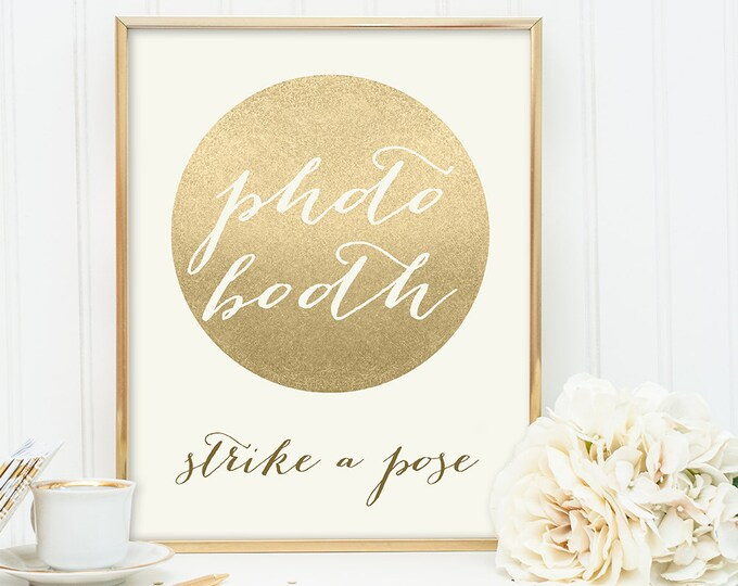 Photo Booth Sign / Strike a Pose /Gold Sparkle Wedding Sign DIY / Metallic Gold and Cream / Champagne Gold ▷ Instant Download JPEG