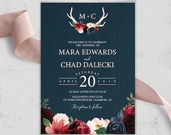 Rustic Wedding Invitation, Burgundy Navy Boho Wedding Invites, Marsala Blush Flowers and Antlers, PRINTED INVITATION or printable invite