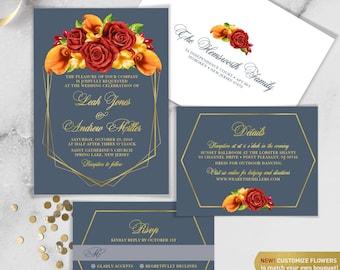Fall Wedding Invitation Set / Red Rose Flower, Orange Calla Lilly, Floral Invitation, Gold Geometric ▷ Printed Invitations {or} Printable
