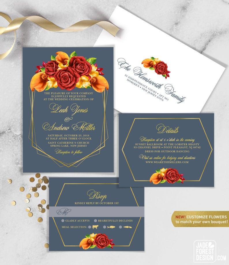 Fall Wedding Invitation Set / Red Rose Flower Orange Calla image 0