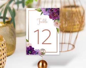 Purple Table Numbers, Wedding Table Name 5x7s for Rose Gold Wedding, Purple Flowers, Anemone, Peony, Ranunculus > PRINTED Table Numbers