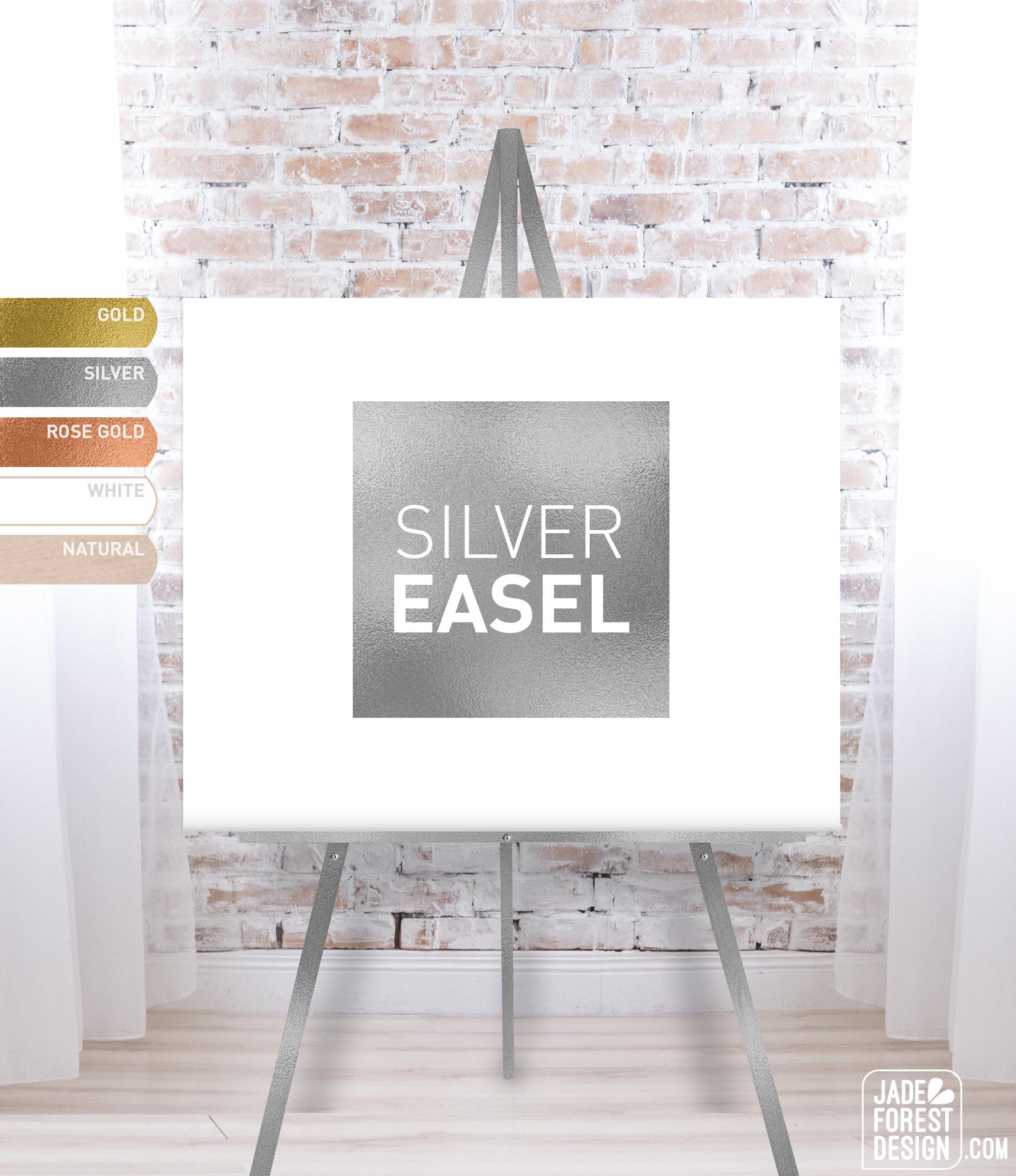 e338bcfc2bf1 Wooden Easel Silver Wedding Easel Easel Stand Wedding Sign