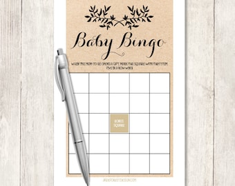 Rustic Baby Shower Bingo Game DIY / Gender Neutral / Rustic Vine Wreath, Kraft, Twig, Sprig / Baby Bingo Printable Game ▷ Instant Download
