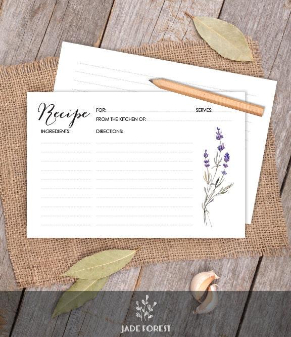 floral card purple flowers lavender wreath 4x6 recipe card diy bridal shower card kitchen shower printable pdf instant download