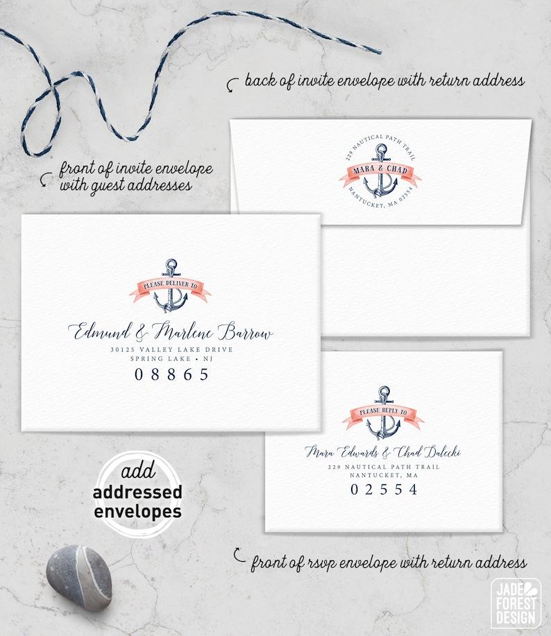 Nautical Envelopes Addressed Coral Navy Blue Wedding Invite Envelope  PRINTED Envelopes Return Address Printing Guest List Addressing