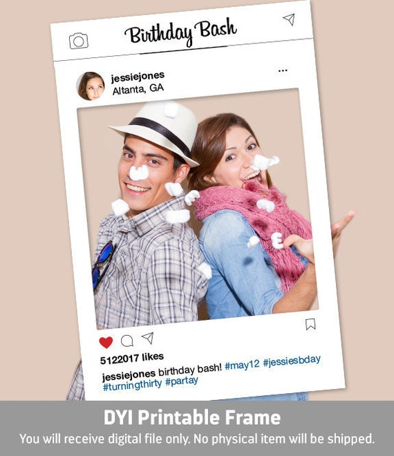 Instagram Frame Diy Photo Booth Prop Graduation Prom Etsy