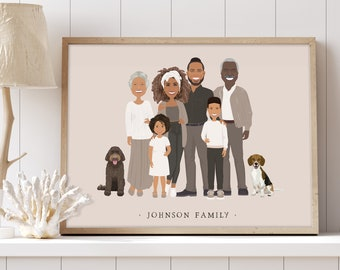 Taupe family illustration with children > Neutral personalized family with kids & labradoodle, Custom gift idea for parents or grandparents