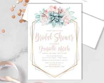 Succulent Bridal Shower Invitation / Blush Flower Succulent Bouquet Faux Metallic Copper Watercolor Cactus ▷Printed Invitations or Printable