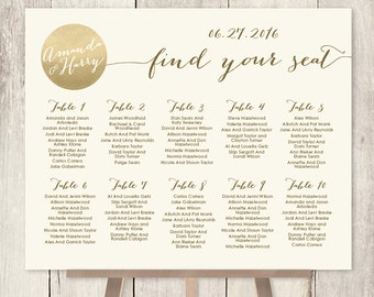 Wedding Seating Chart Sign / Gold Sparkle Wedding Sign / Metallic Gold and Cream / Seating Sign ▷ Printable File {or} Printed & Shipped