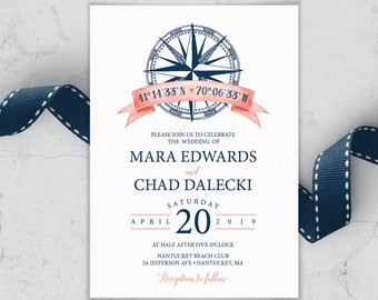 Nautical Wedding Invitation, Coral Navy Blue Wedding Invites for Beach Destination Wedding, PRINTED INVITATION or printable invite