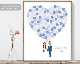Wedding Guest Book Alternative Poster DIY  / Personalized Couple Illustration / Blue Balloon Heart / Custom Illustration ▷ Printable PDF