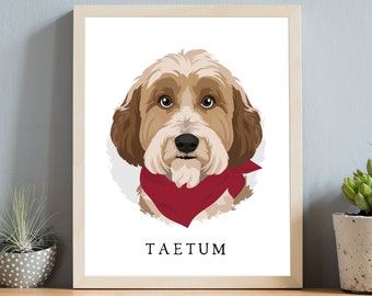 Tibetan Terrier portrait • Custom gift for dog mom •Personalized dog with red bandana •Cute pet portrait from photo •Pet adoption gift
