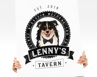 Dog Bar Sign > Custom Dog Portrait & Personalized Logo for Wedding Bar, Distressed Rustic Canvas Print