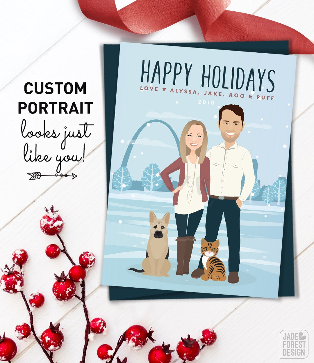 Holiday Pregnancy Announcement Card, Custom Portrait Holiday Cards ...