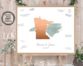 Wedding Guest Book Alternative > Dusty green watercolor & faux metallic copper guestbook canvas, State or country map guest book {moa}