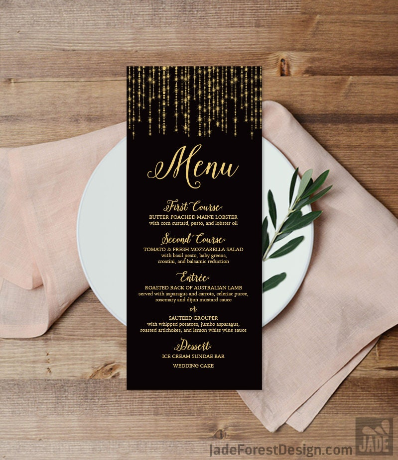 elegant menu card diy wedding menu great gatsby inspired bokeh