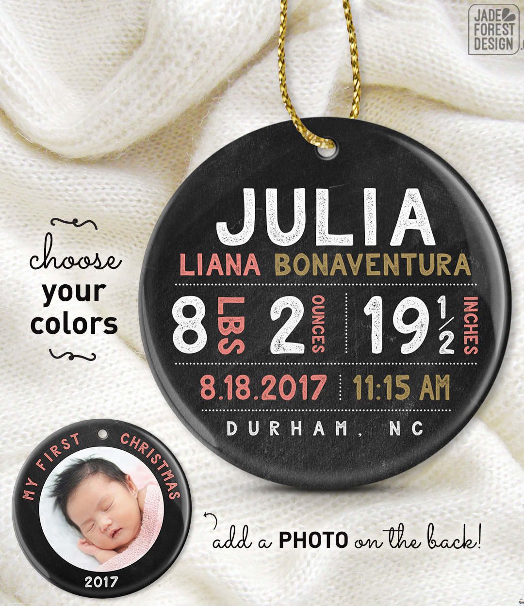 new baby ornament my first christmas ornament personalized baby girl gift photo ornament rustic christmas gift under 50