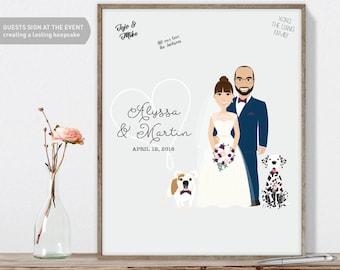 Wedding Portrait Guest Book Custom Couple Portrait, Fun Wedding Guest Book Alternative, Canvas Wedding Guest Book, Framed Wedding Guest Book