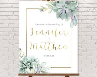 Succulent Wedding Welcome Sign / Greenery and Gold Geometric / Green Cactus and Gold Calligraphy ▷ Printable File {or} Printed & Shipped