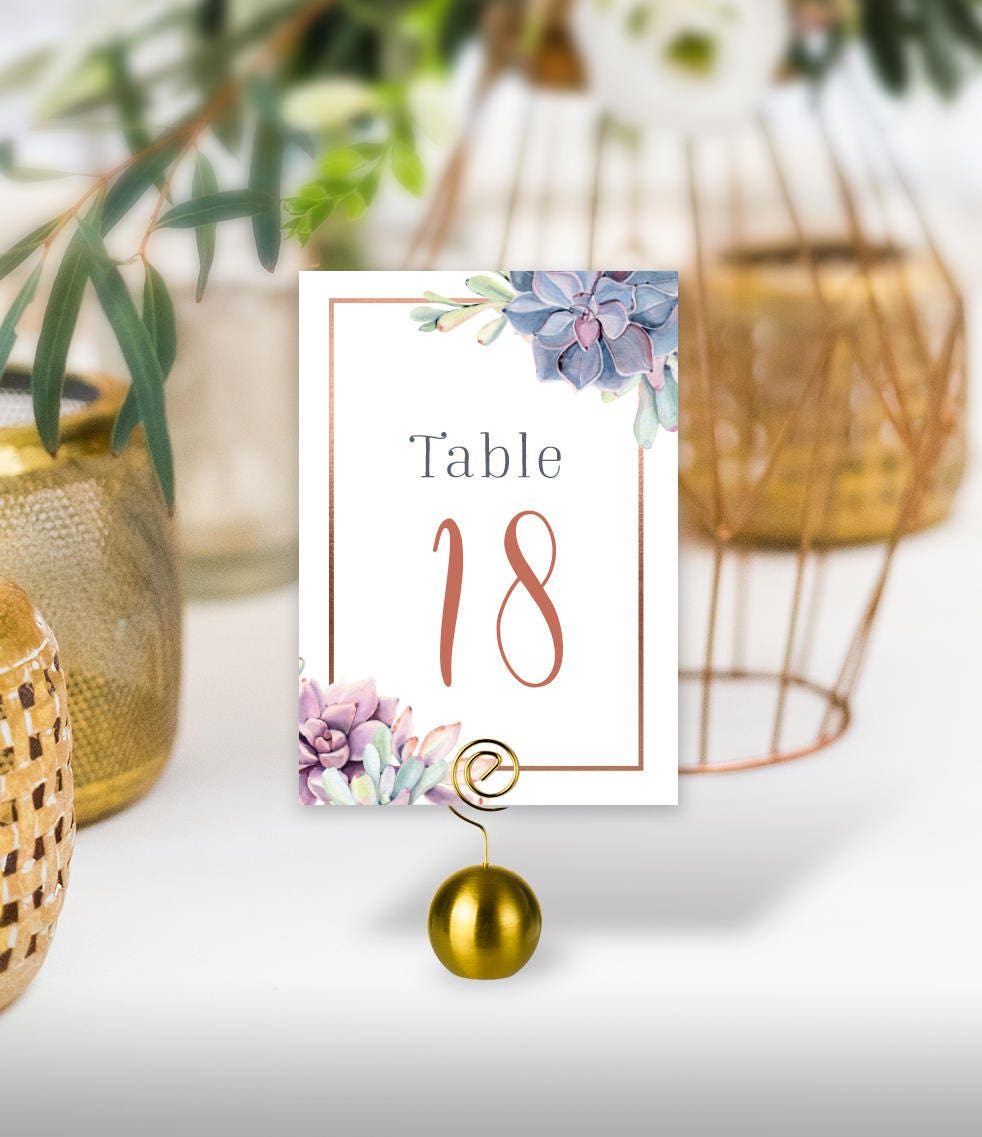 Succulent Table Numbers Wedding Table Name 5x7s For Greenery Wedding Rose Gold Geometric Cactus Printed Table Number Cards Double Sided