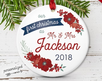 Mr and Mrs Ornament, Christmas Wedding Gift Idea for Newlywed Couple, Our First Christmas Married, White and Navy