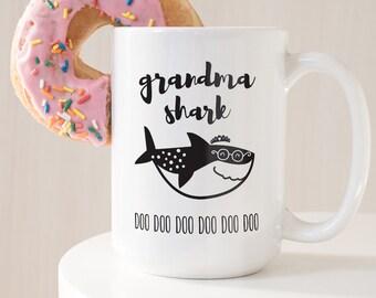 Grandma Shark Mug, Funny Gift For Grandmother, Gift under 20, Funny Coffee Mug, Black and White Scandinavian Tea Mug