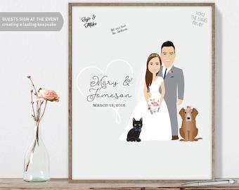 Wedding Guest Book Alternative / Illustration Cartoon Portrait / Pet Dogs / Guestbook Idea ▷ Canvas Guest Book, Paper Print {or} Printable