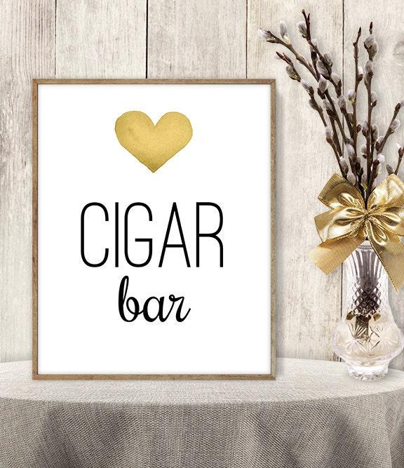 Cigar Bar Sign Watercolor Wedding Cigar Sign Diy Gold Heart Watercolor Heart Sign Printable Pdf Poster Instant Download