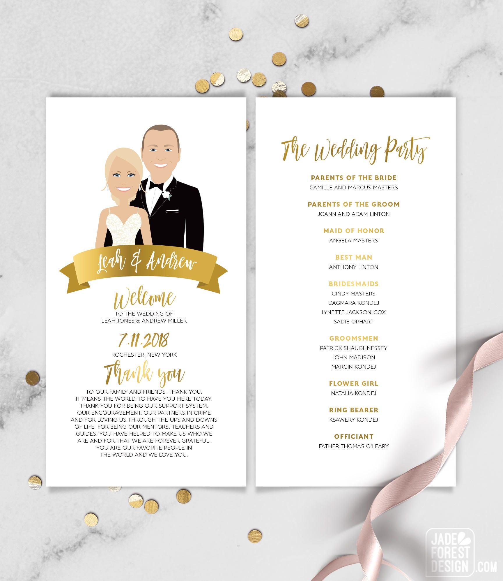 portrait wedding program schedule faux metallic gold wedding