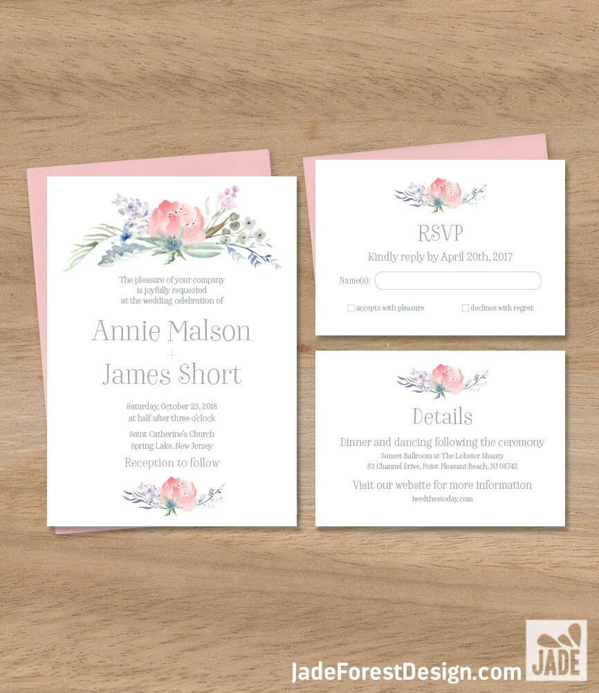 Boho Wedding Invitation Set / Blush Flowers, Boho Flowers, Bohemian ...