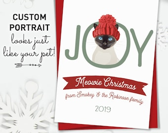 Siamese Cat Christmas Card, Funny Christmas Cards with Cute Cat Portrait, Custom Pet Portrait Xmas Card for Cat Lover