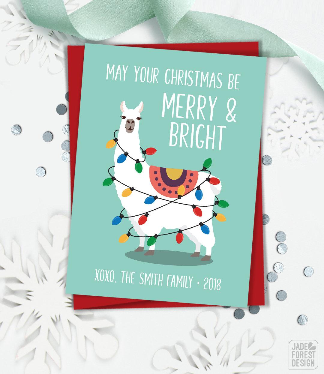 Llama Christmas Card, Funny Christmas Cards with Llama Illustration ...