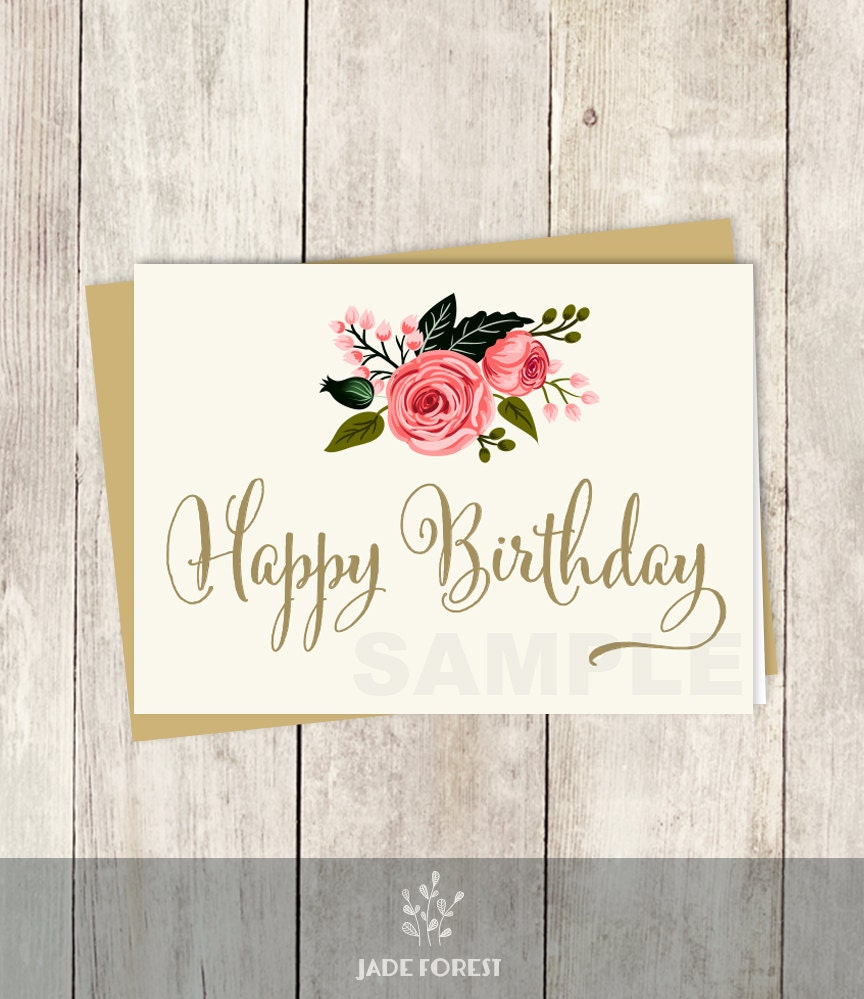 Happy Birthday Card DIY Floral Watercolor Rose Flower