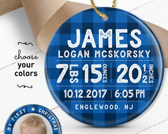 First Christmas Ornament, Personalized Baby Gift, Blue Plaid Ornament, Custom Ornament with Baby Stats, Grandparent Gift under 50
