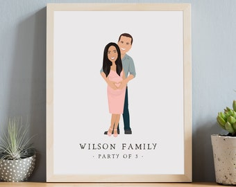 Pregnant family portrait. Heart on belly illustration. Custom pregnancy drawing from photo. Framed family of 3 portrait in pink and gray
