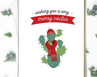 Succulent Christmas Card Set, Merry Cactus Greeting Card Set of 15 Cards with Envelopes, Funny Holiday Notecards