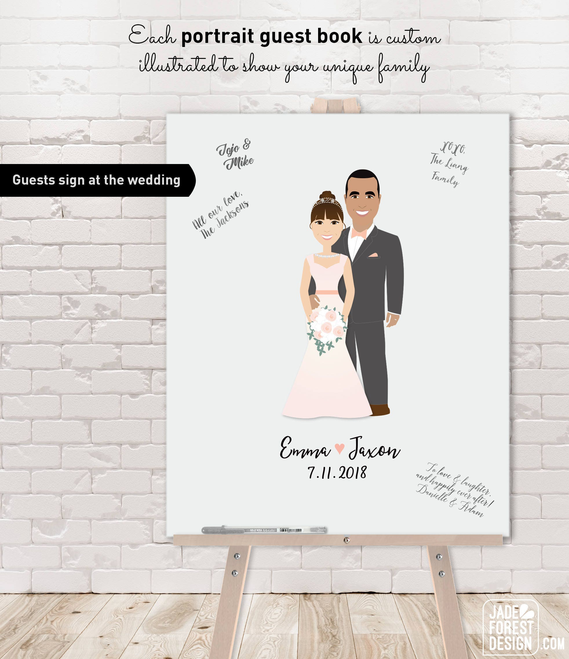 959374fca24 Wedding Guest Book Alternative Canvas – Custom Cartoon Portrait Couple for  Unique Wedding Guest Book Sign as Canvas, Paper or Printable