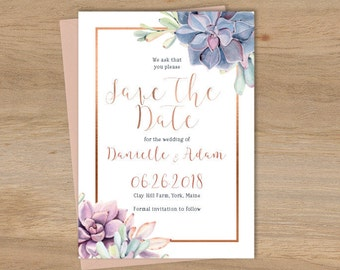 Succulent Save The Date / Greenery and Rose Gold Geometric / Cactus and Copper Calligraphy ▷ Printed Wedding Invitations {or} Printable